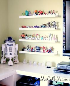 McCall Manor-Disney Infinity Storage Solution - wondered if the IKEA Ribba picture ledges would work for these things as they are taking over the family room and now I know.