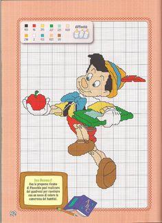 20 Crewel Embroidery, Cross Stitch Embroidery, Embroidery Patterns, Crochet Patterns, Cross Stitch Bookmarks, Cross Stitch Charts, Pinocchio Disney, Disney Cross Stitch Patterns, Disney Stitch