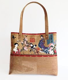Beautiful Japanese Print Bag Eco Friendly Cork Bag Unique