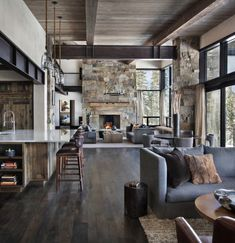 Incredible mountain modern dwelling offers slope-side living in Montana This mountain modern dwelling was designed by Centre Sky Architecture, located in the community of Moonlight Basin in Big Sky, Montana. Modern Mountain Home, Mountain Living, Cabin Interiors, Modern Rustic Interiors, Modern Cabin Interior, Mountain Home Interiors, Modern Cabin Decor, Modern Lodge, Rustic Contemporary