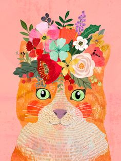 Ginger cat Art Print by Mia Charro - X-Small Cat Art Print, Framed Art Prints, Crown Art, Cat Stickers, Ginger Cats, Folk Art, Creations, Illustrations, Illustration Art