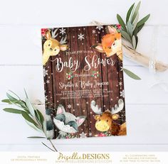 Winter Baby Shower Invitation Woodland Wonderland Rustic Gender Neutral Christmas