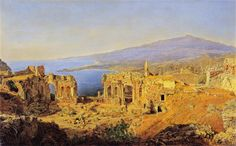 Ferdinand Georg Waldmüller The ruin of the Greek theater in Taormina, Sicily 1844