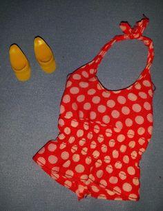 Vtg 1974 Barbie Doll Best Buy #7813 Red & White Polka Dot Halter Top Shirt Shoes   eBay