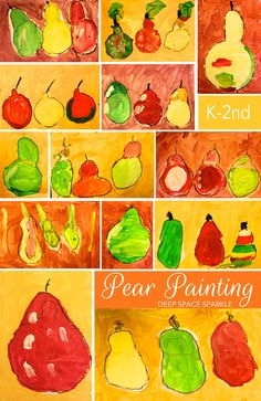 Kids paint a beautiful pear still-life observation painting. Student Kinder Gallery
