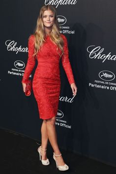 Nina Agdal. See all the looks from Chopard's Gold Party at Cannes.