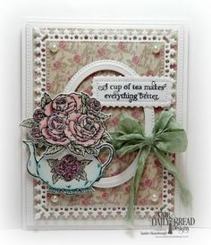 Our Daily Bread Designs Stamp Set: Tea Time, Our Daily Bread Designs Paper Collection: Shabby Rose, Our Daily Bread Designs Custom Dies:Double Stitched Rectangles, Pierced Ovals, Pierced Rectangles, LavishLayers, Teapot and Roses