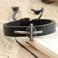 10 piece/lot Fashion Charm Bracelets Men Women Genuine Leather Cuff Bangle Silver Cross Wristbands Chain Jewelry Accessories #Affiliate