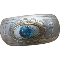 Sterling Silver Turquoise Cuff Bracelet Signed Navajo Silversmith Virgil Reeder Hallmarked and signed : IHMSS  V R  Condition:  Very good vintage