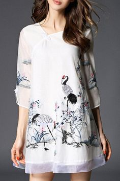 Elegant Embroidered 3/4 Sleeve A-Line Dress For Women