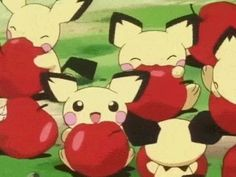Multiple Pichus eating apples me and my brother both are apples while we watched this episode lol