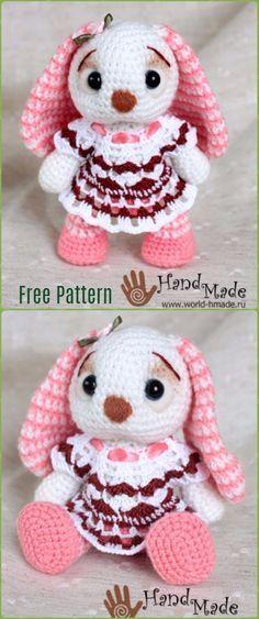 Crochet Amigurumi Flappy Rabbit Bunny Doll in dress Free Pattern