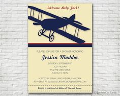 Vintage Airplane Baby Shower Invitation Version by freshlycutcards