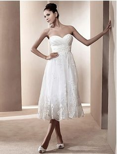 Cheap Free Shipping Plus Size A-line Sweetheart Tea-length Satin Wedding Dress 2013 at TheDressUnion.com