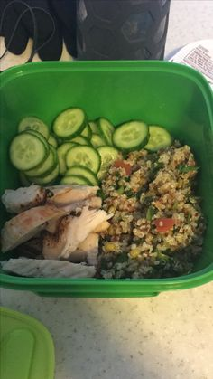 Quinoa lentil salad with sliced cucumbers and chicken breast - great healthy lunch!