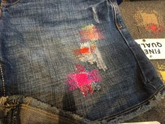 The sample denim which was put in the booth.  Besides knitting, of course you can darn.