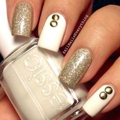 White & Gold Nails with Studs