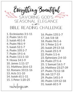 He has made everything beautiful in its time. Ecclesiastes 3:11 Welcome to the Everything Beautiful Bible reading plan & journal challenge!