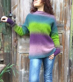 Women wool pullover Hand knitted colorful sweater Green | Etsy Loose Sweater, Green Sweater, Tunic Sweater, Knitwear Fashion, Fashion Wear, Hand Knitting, Sweaters For Women, Rainbow, Pullover
