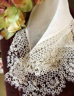 One of the times in our lives - at least here in Canada - that we get to wear embroidered and lace items is at weddings.  Wouldn't this hanky - with it's deep border of tatted lace - look good on that special day?  Check the Comments section for a photo of the whole hanky.  Image courtesy of http://www.ebay.co.uk/itm/Very-Fine-Deep-Tatted-Lace-Antique-Bridal-Handkerchief-Wedding-Heirloom-/271260039347?pt=LH_DefaultDomain_0&hash=item3f285bb8b3