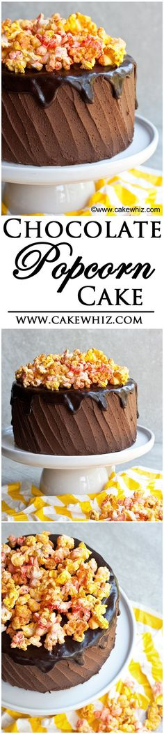 CHOCOLATE POPCORN CAKE....Rich chocolate cake frosted in chocolate buttercream icing and topped off with creamy chocolate ganache and spicy popcorn! From cakewhiz.com