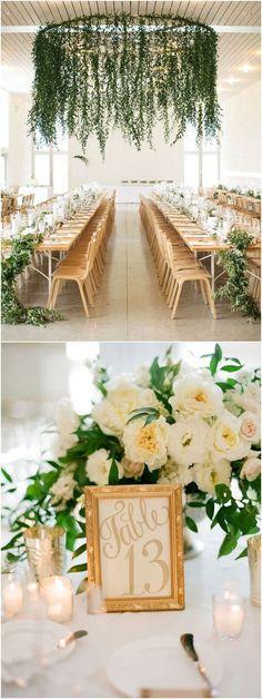 Fresh gold and green modern wedding reception decorations #WeddingIdeasGreen