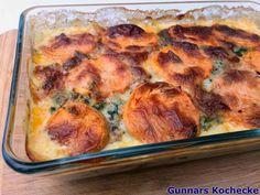 Süßkartoffel-Spinat-Auflauf mit Hackfleisch - #Rezept