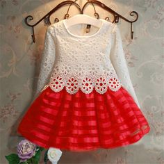2016 3-7Y Toddler Baby Girls Kids Tutu Crochet Lace Dress Long Sleeve Princess Dress Girls Clothes Autumn Children Wedding Dress #>=#>=#>=#>=#> Click on the pin to check out discount price, color, size, shipping, etc. Save and like it!