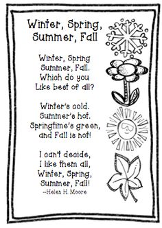 The Very Busy Classroom: Freebie Friday: Poem Winter, Spring, Summer, Fall - Louisa Science Poems, Preschool Poems, Kindergarten Poems, Kids Poems, Easy Poems For Kids, Seasons Kindergarten, Fall Preschool, Spring Poems For Kids, Summer Poems