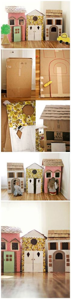 How fun is this!? DIY Cardboard Playhouses - @Elyse Exposito Exposito Exposito Exposito Woodbury Pehrson Larson of A Beautiful Mess: