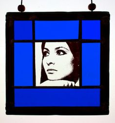 Small stained glass portrait of Esther Ofarim. She's yours! Come and get her at the Etsy Shop of Stained Glass Elements.Esther Ofarim, Esther Ofarim stained glass, Esther Ofarim gebrandschilderd glas in lood, raamhanger, vitrai, Esther Ofarim suncatcher, gift