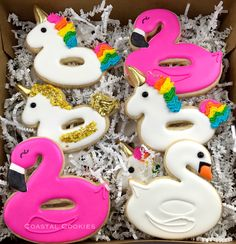 Flamingo and Unicorn Float Sugar Cookies - Click for Unicorn Float YouTube Tutorial!