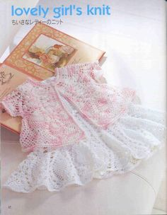 crochet schematics for this pretty baby dress and bolero Crochet Girls, Crochet For Kids, Knit Crochet, Crochet Baby Dress Pattern, Pineapple Crochet, Crochet Clothes, Pulls, Baby Knitting, Kids Outfits
