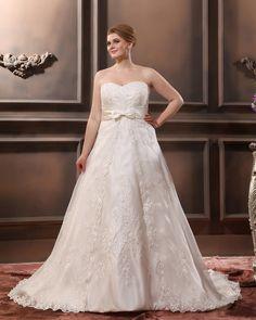 Satin Applique Sweetheart Plus Size Wedding Dress