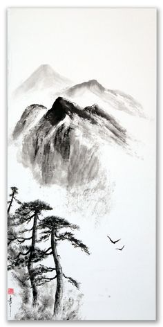 peinture zen ou sumi-e Jean-Marc Moschetti art zen Japanese Ink Painting, Zen Painting, Japanese Watercolor, Chinese Landscape Painting, Japanese Artwork, Landscape Artwork, Chinese Painting, Chinese Art, Mountain Drawing