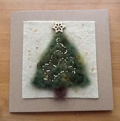Needle felted tree on felt mount, with embroidered garlands, for Christmas card