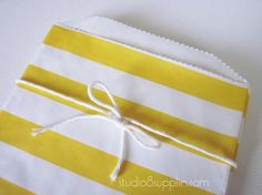 25 Yellow Horizontal Stripe Middy Bitty Bags from studio8supplies, $6.75