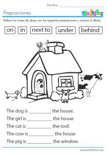 Ficha educativa con las preposiciones en inglés: aprende in on under behind ---CLICK MORE PICTURE--- Teach English To Kids, English Worksheets For Kids, English Lessons For Kids, Kids English, Teaching English, Learn English, English Resources, English English, Activities In English