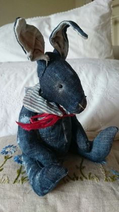 Denim Bunny / by Nikki Sewing Toys, Sewing Crafts, Sewing Projects, Jean Crafts, Denim Crafts, Teddy Bear Sewing Pattern, Denim Ideas, Recycled Denim, Soft Sculpture