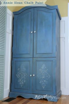Annie Sloan Chalk Painted Blue Armoire  artsychicksrule.com 3 paint technique...tutorial #chalkpaint #stencil