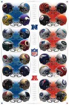 NFL Team Helmets Poster