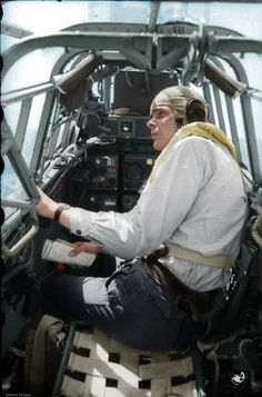 Russia 1943 Radioman / gunner in the cockpit of Messerschmitt BF-110