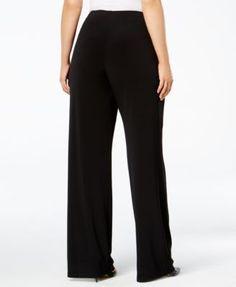Alfani Plus Size Wide-Leg Soft Pants, Created for Macy's - Black 1XP