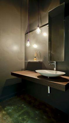 Cool atmosphere in this bathroom/ cloakroom.
