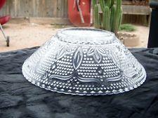 Vintage Beaded Floral Design Serving Bowl Clear Depression Glass