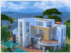 Built in a modern style with warm features such as red bricks and wood, this house is the fantasy of my posh sims. It has 5 bedrooms, 4 bathrooms, a s. Sims 4 Modern House, Sims 4 House Design, Modern House Design, Sims 4 House Plans, Sims 4 House Building, Casas The Sims 3, Lotes The Sims 4, Brick And Wood, Sims 4 Houses