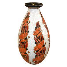 Rust and Black Catteau Boch Vase Belgium