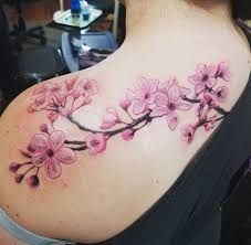 cherry blossom tattoo - Google Search, #Blossom #Cherry #Google #Search #Tattoo Cherry Blossom Tattoo Shoulder, Back Of Shoulder Tattoo, Tribal Shoulder Tattoos, Shoulder Tattoos For Women, Flower Tattoo Shoulder, Back Tattoo, Arm Band Tattoo, I Tattoo, Chest Tattoo