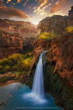 Sunrise in paradise (Havasu Falls, Arizona) by Peter Coskun nature photograhy.. #Arizona #Autumn #Blue #Gold #GrandCanyon #HavasuFalls #Havasupai #Orange #Red #Southwest #Sunrise #Waterfall #Yellow