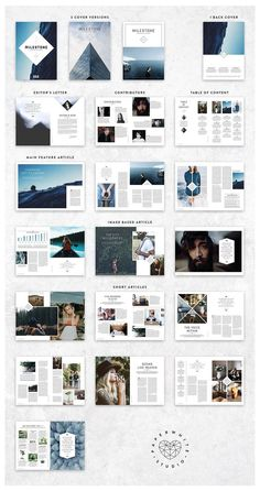 MILESTONE Magazine by Paperwhite Studio on @creativemarket Ready for Print Magazine and Brochure template creative design and great covers, perfect for modern and stylish corporate appearance for business companies. Modern, simple, clean, minimal and feminine layout inspiration to grab some ideas.